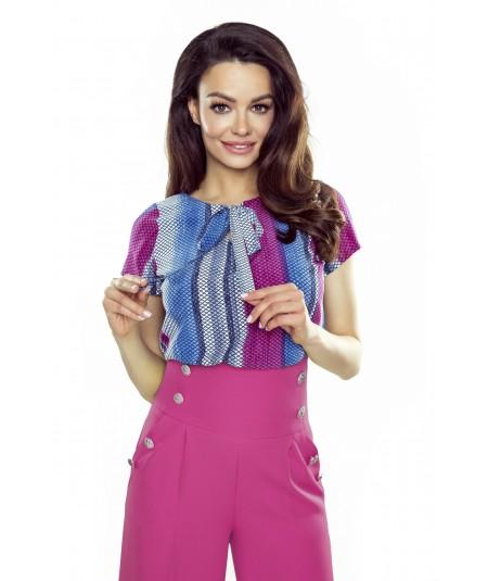 Elegancka bluzka damska z krotkim rekawem Ilona - wielokolorowa