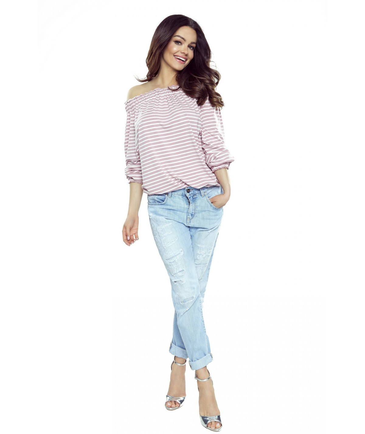 basicowa bluzka bergamo w paski - rózowa