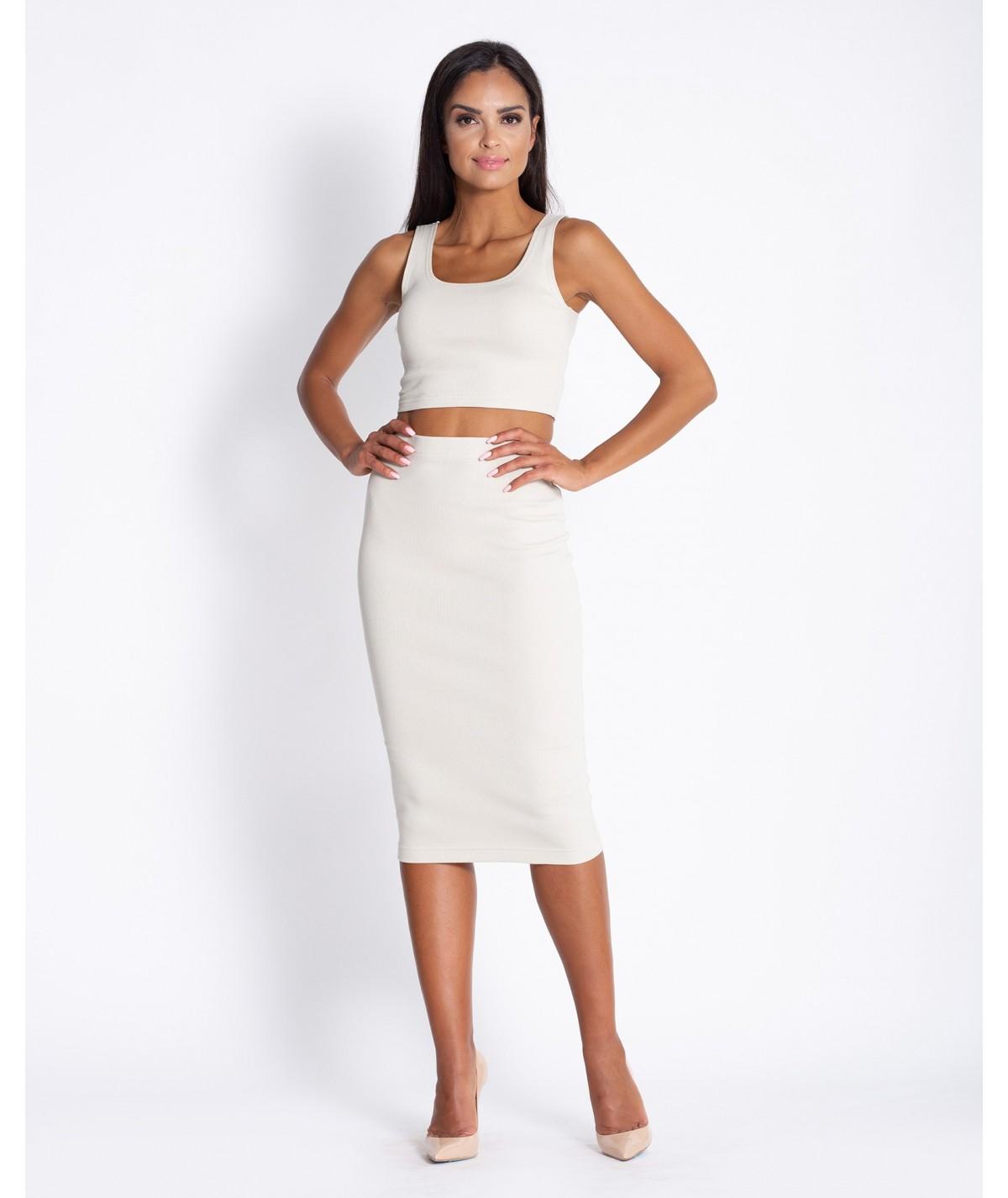 Bezowy komplet damski - spódnica + top Dursi