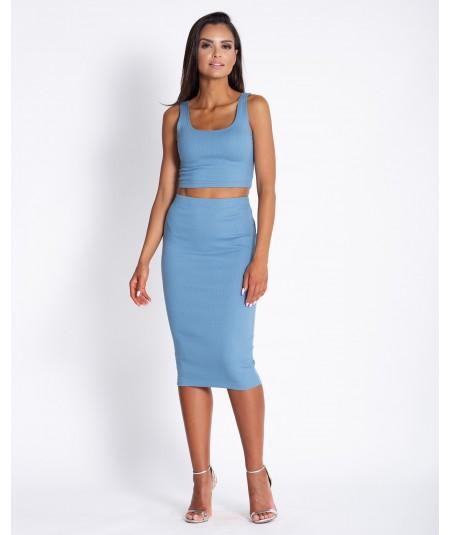 Piękny komplet - dopasowana spódnica i top Milan niebieski