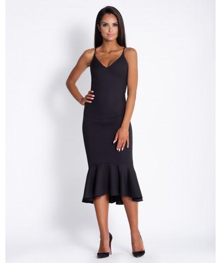 Czarna sukienka midi z falbanką Dursi
