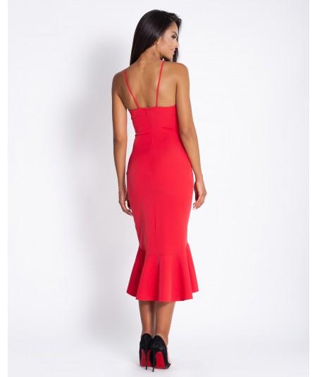 Czerwona sukienka midi z falbanką Nife - Dursi