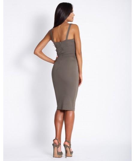 Dopasowana sukienka na ramiczkach Rocco -Dursi oliwkowa