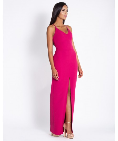 Różowa suknia maxi z rozporkiem Dursi Elisa