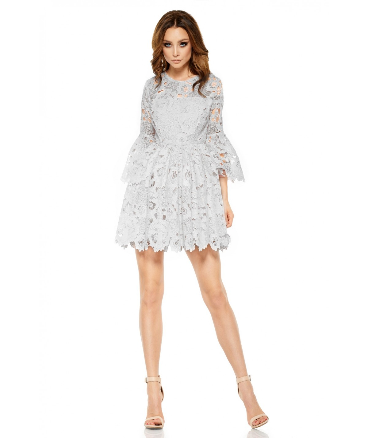 Szara koronkowa sukienka - lemoniade L262