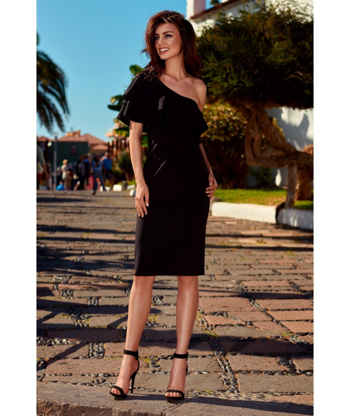Czarna dopasowana sukienka z falbanką lemoniade