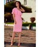 Rózowa sukienka na jedno ramię Lemoniade