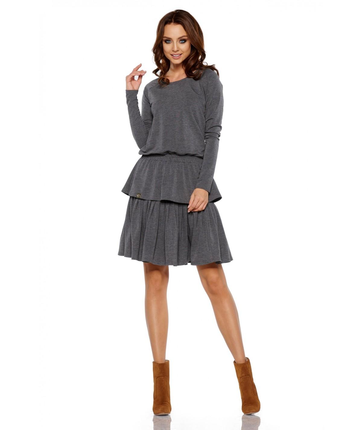 Szara sukienka z falbankami i długim rekawem lemoniade
