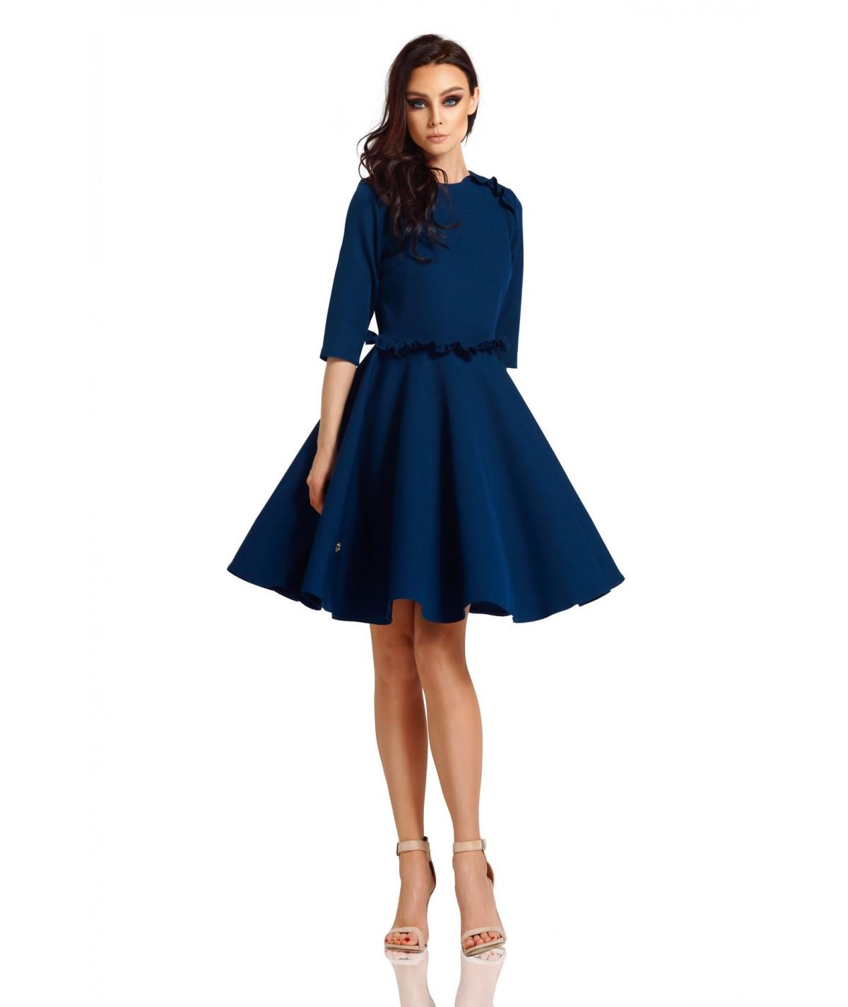 Rozkloszowana sukienka z falbankami - lemoniade L291