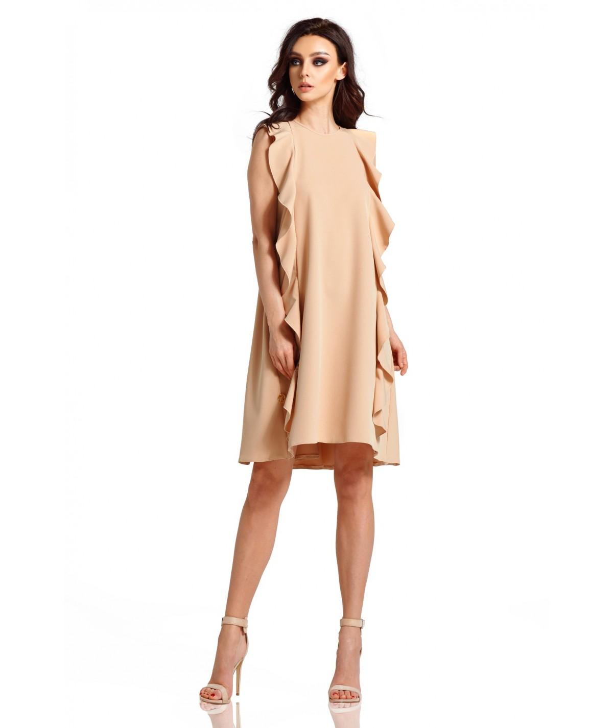 Beżowa trapezowa sukienka - Lemoniade L298