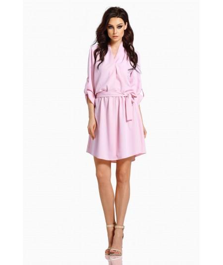 Rózowa koszulowa sukienka - Lemoniade L300