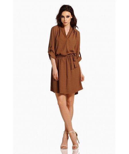 Koszulowa sukienka brązowa - Lemoniade L300