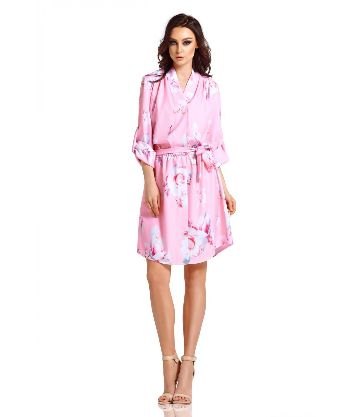 Rózowa sukienka w kwiaty - Lemoniade L301