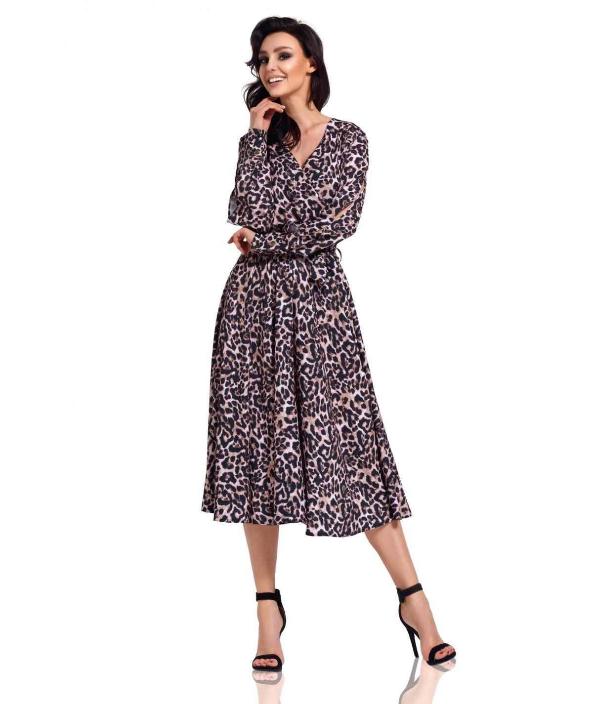 Sukienka midi w panterkę - Lemoniade L302