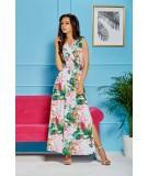 Biała sukienka maxi w kwiaty - Lemoniade L304