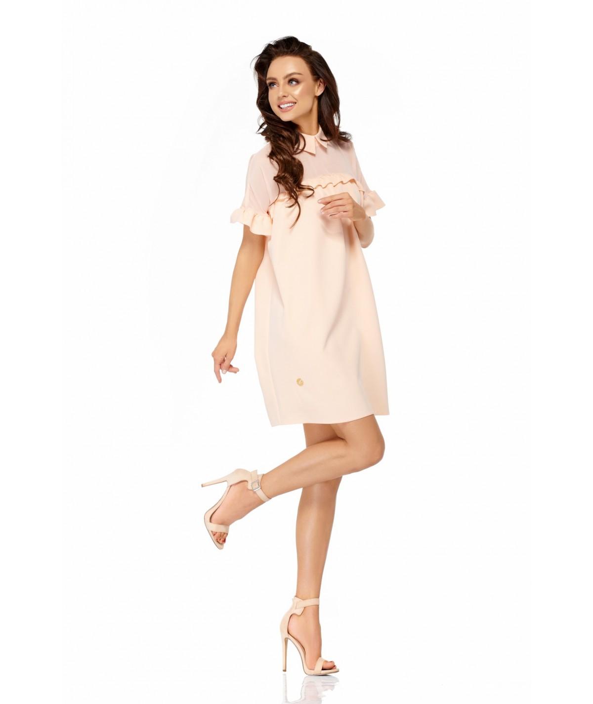 Łososiowa sukienka o luźnym fasonie - Lemoniade L307