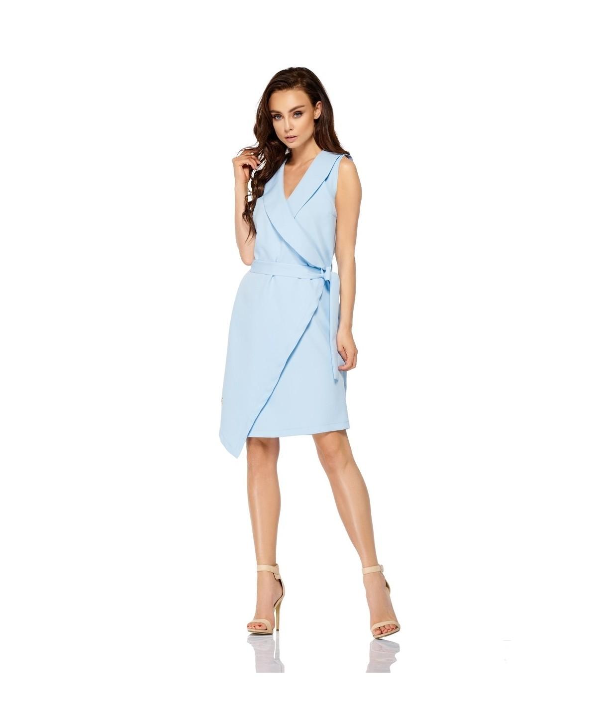 Błękitna sukienka kopertowa model L308 - lemoniade