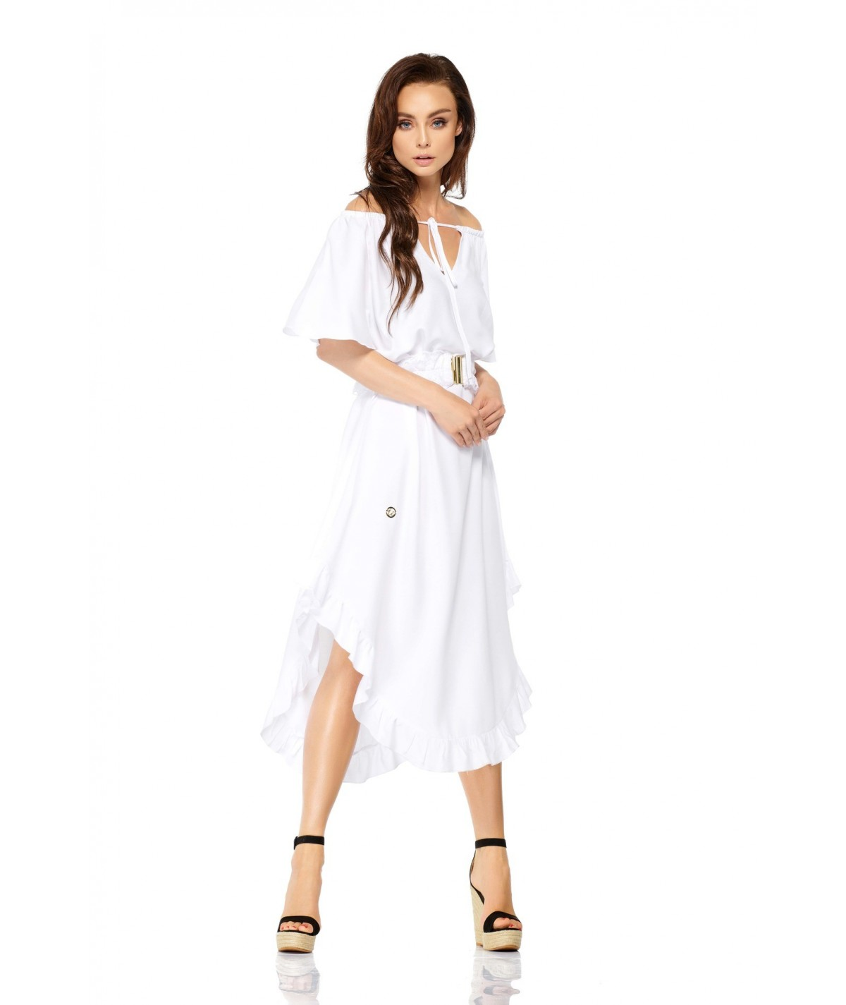 biała sukienka boho z falbanka Lemoniade