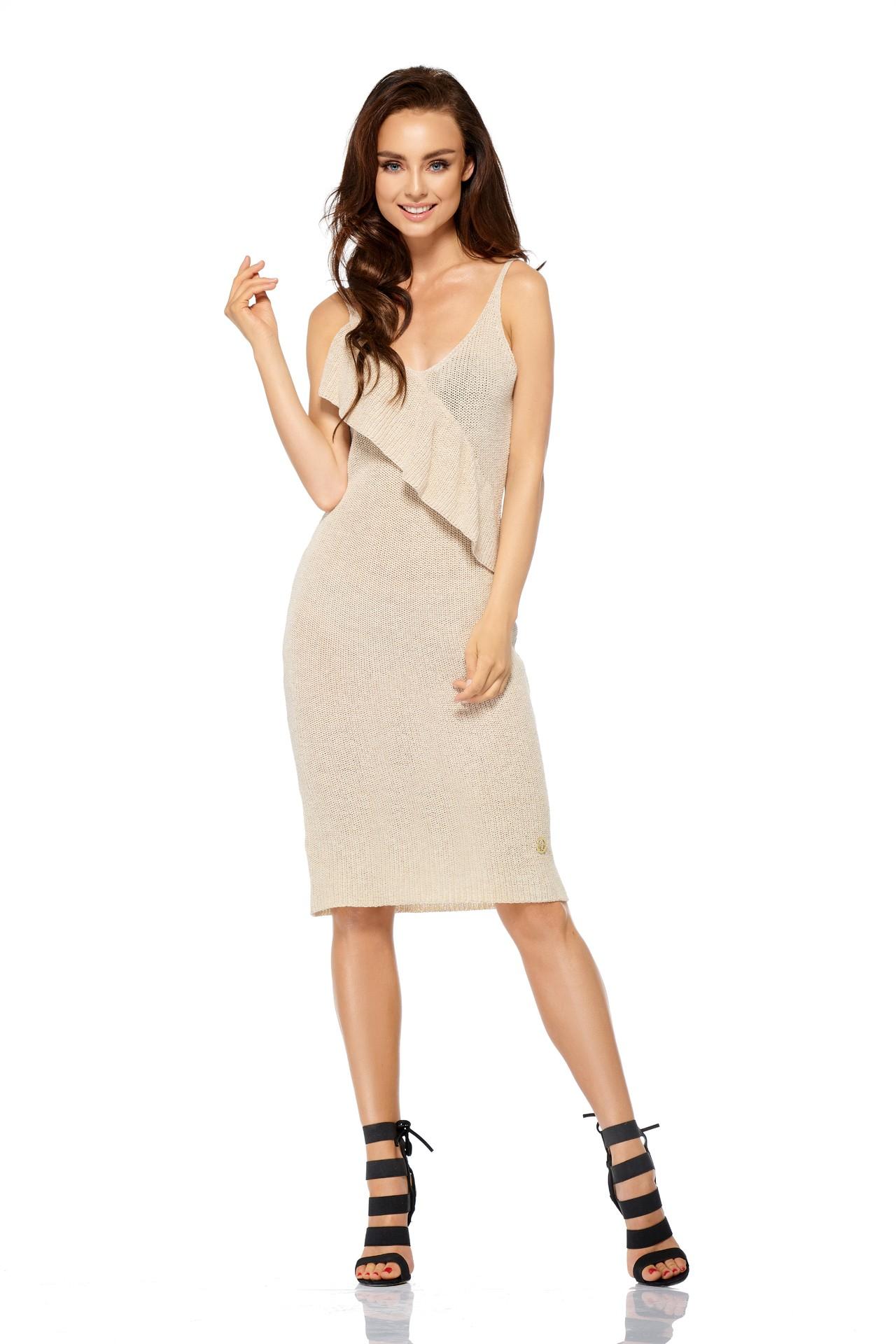 Lemoniade Sweterkowa beżowa sukienka damska Lemoniade