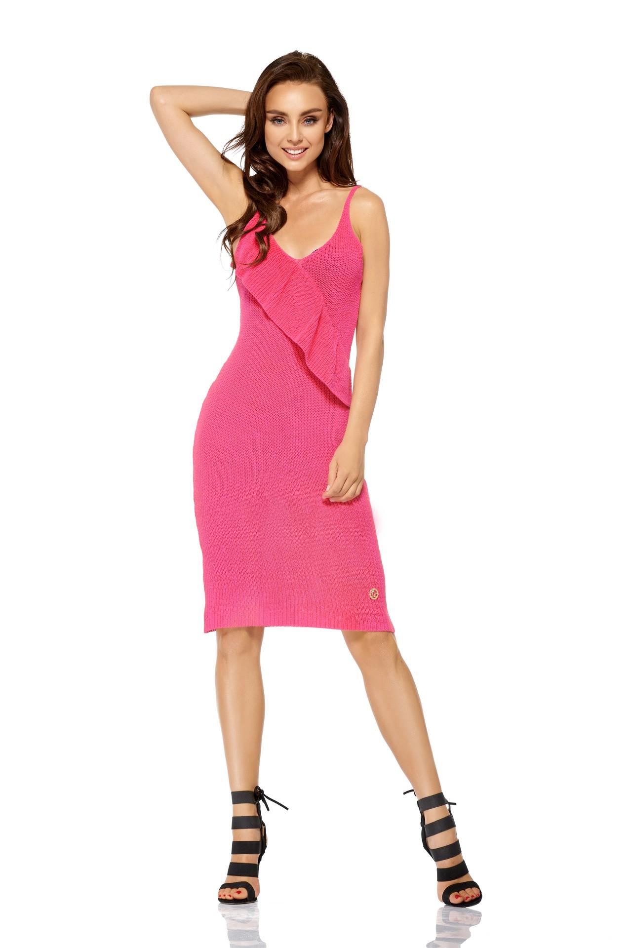 Lemoniade Sweterkowa sukienka w kolorze fuksji producenta
