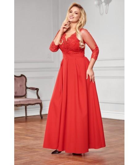 Czerwona suknia maxi - Bicotone A201