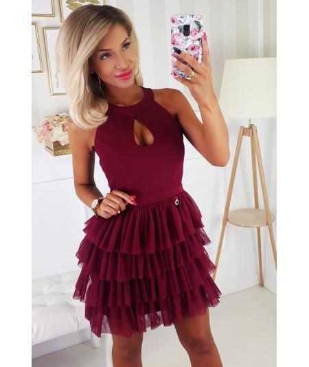 Bordowa sukienka marki Bicotone model 2188