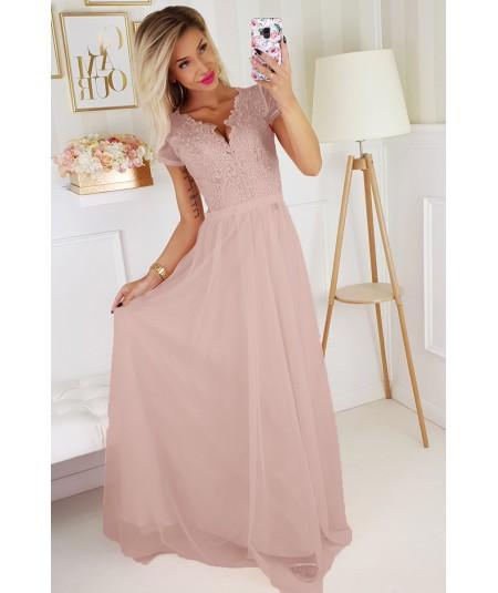 Różowa sukienka MAXI - BICOTONE