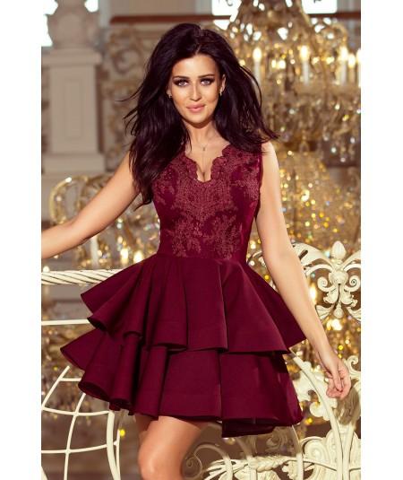 Ekskluzywna sukienka CHARLOTTE - bordowa