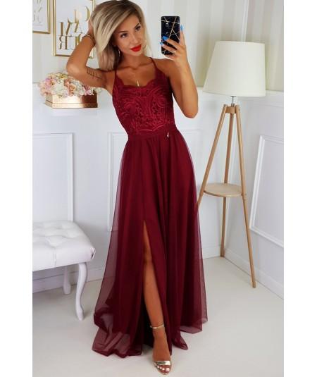Bordowa sukienka maxi na wesele Bicotone 2190