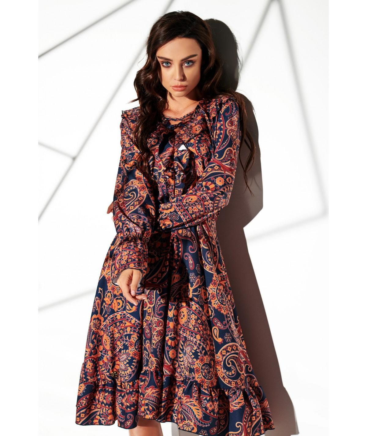 wzorzysta sukienka damska lemoniade lg505