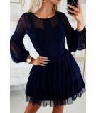 Granatowa sukienka z bufiastymi rekawami Melania