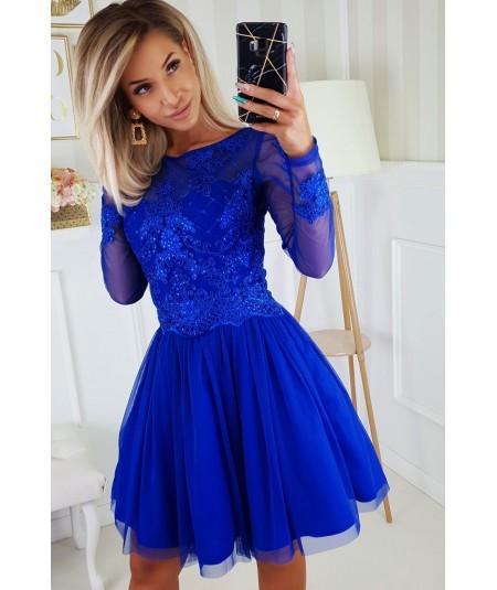 Chabrowa tiulowa sukienka z koronką - bicotone 2194