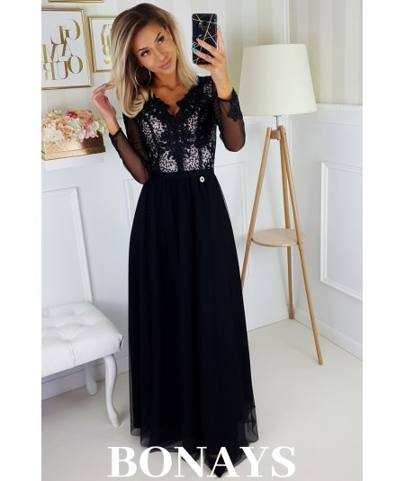 Czarna sukienka z tiulem i cekinami maxi - bicotone 2167