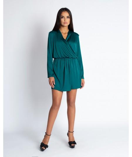 zielona sukienka z satyny dursi - malma