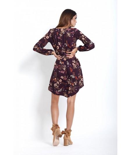 Sukienka o prostym kroju - karina - kwiaty