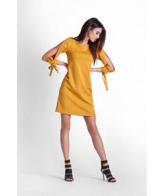 musztardowa sukienka trapezowa IVON