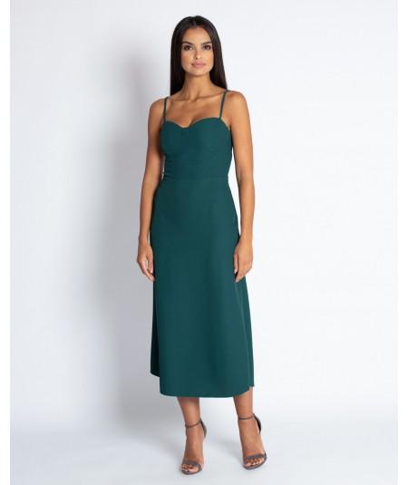 Butelkowa sukienka midi na cieniutkich ramiączkach - Nail