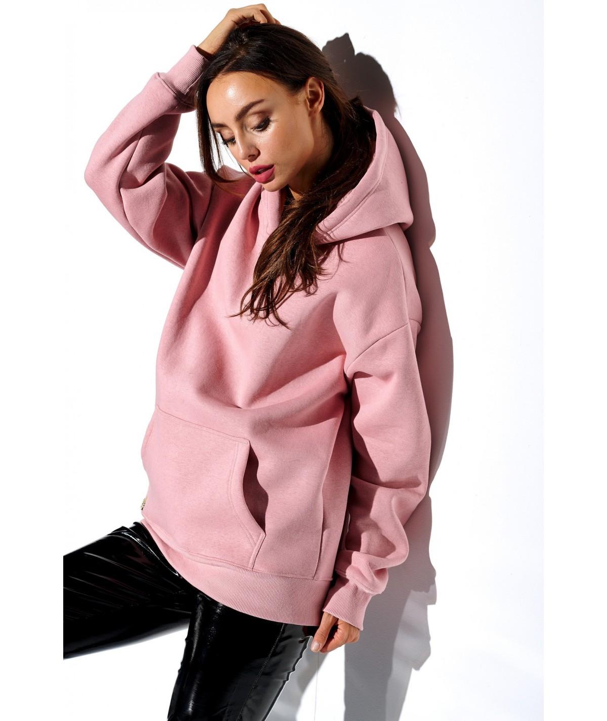 Różowa basicowa bluza z kapturem lemoniade