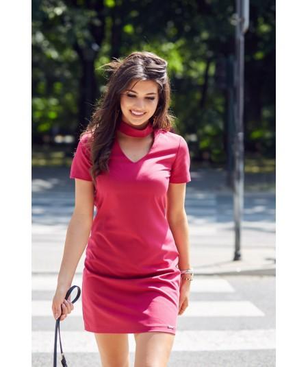 Luźna sukienka z dekoltem i krótkim rękawem - ELENA - bordowa