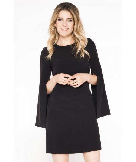 Czarna, elegancka sukienka z rozciętymi rękawami Clarissa