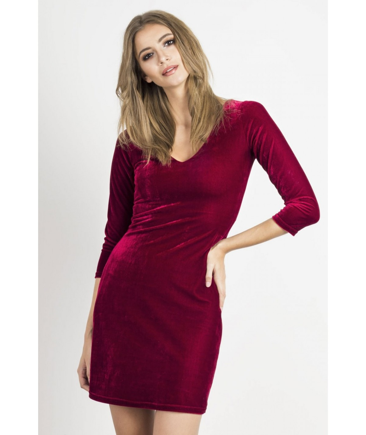 bordowa welurowa sukienka IVON