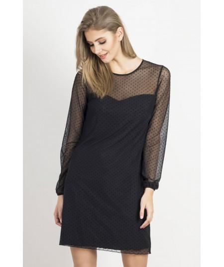Czarna prosta sukienka z tiulowymi rekawami Dotty