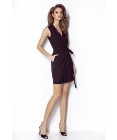 czarna kopertowa sukienka ivon