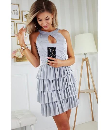 Szara sukienka z falbankami i koralikami - bicotone 2198-21