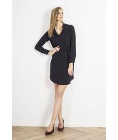 czarna sukienka ze stójka - dzienna IVON