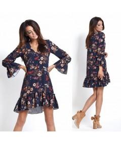 Prosta klasyczna sukienka w kwiaty - Aurelia