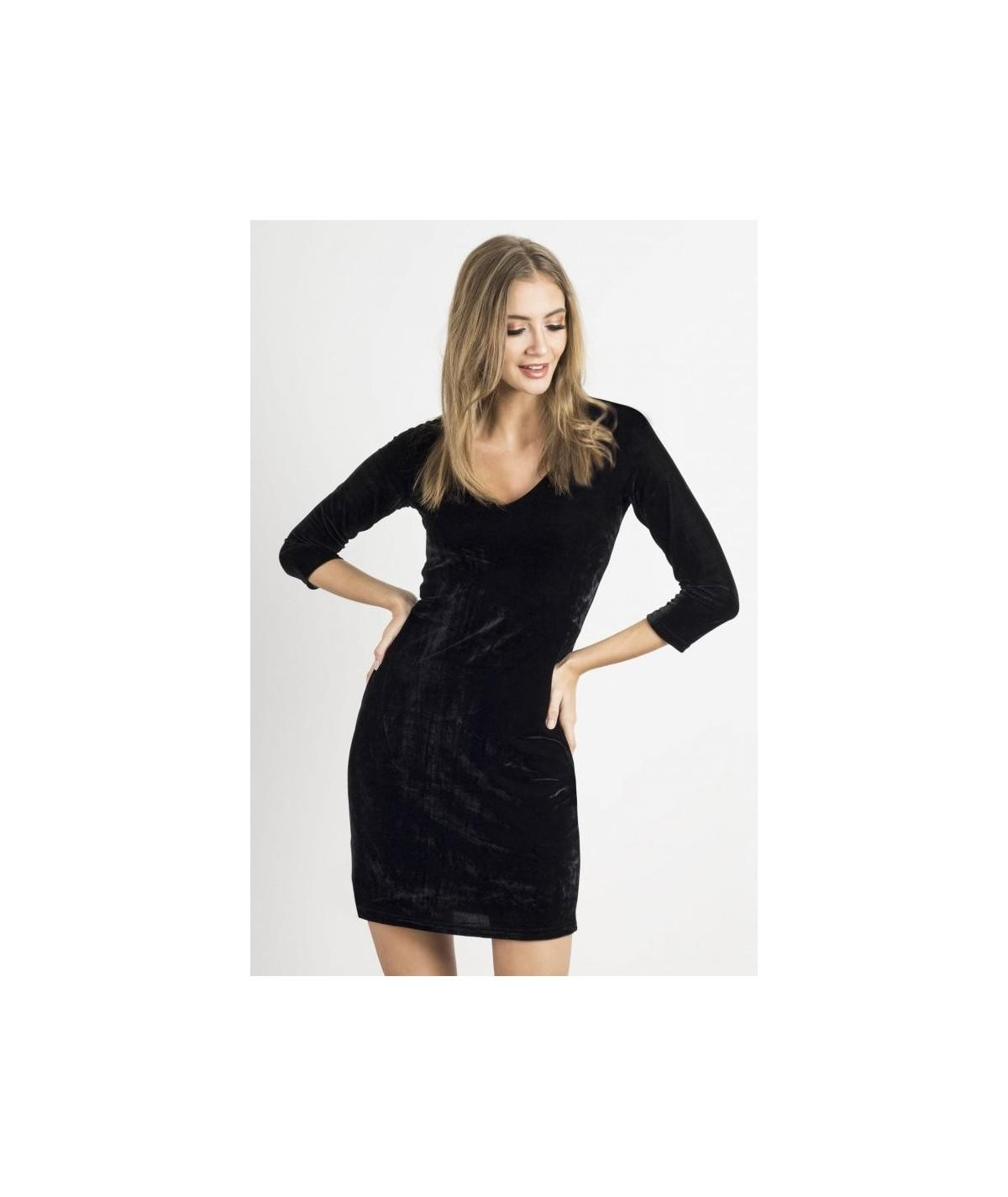 czarna welurowa sukienka ivon