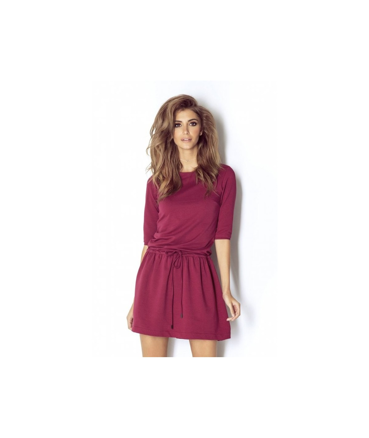 bordowa sportowa sukienka mini NATHALIE