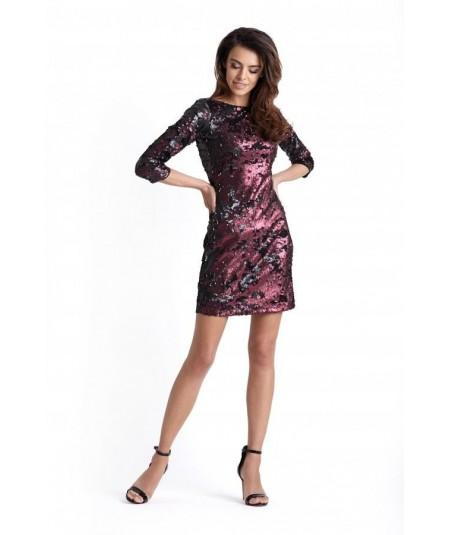 bordowa sukienka z cekinami - colin
