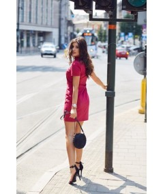 bordowa trapezowa sukienka damska IVON